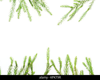Christmas decoration or ornament laid in rectangular frame shape composed of green pine branch and red and green - Stock Photo