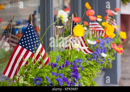 USA, Massachusetts, Cape Ann, Manchester by the Sea, Fourth of July Parade, US flag - Stock Photo