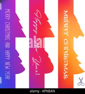 Set of Vector Christmas Appleque Cut Out Border. Bright Gradient and Greeting Inscriptions. Scissors Icon. Design - Stock Photo