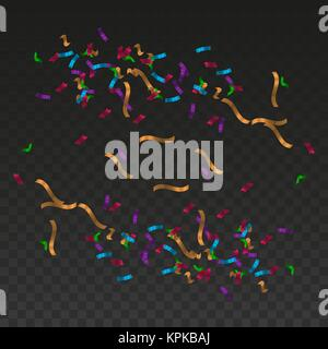Vector Multicolored Confetti: Merry Christmas and Happy New Year Design Elements - Stock Photo