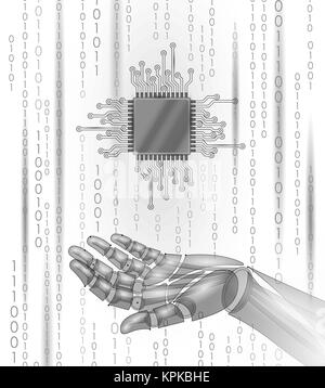 Robot android hand hold processor cpu. Low poly polygonal particle point line geometric render. Computer high science - Stock Photo