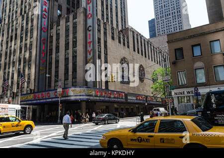 NEW YORK CITY - JULY 12: Radio City Music Hall facade on July 12, 2012 in New York. Radio City Music Hall is an - Stock Photo