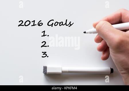 2016 goals written on whiteboard - Stock Photo