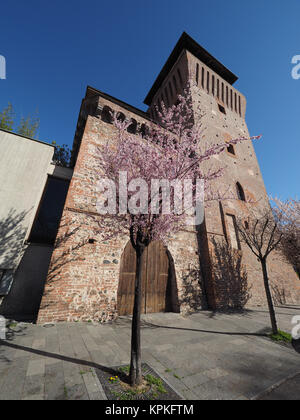 Torre Medievale medieval tower and castle in Settimo Torinese, Italy - Stock Photo