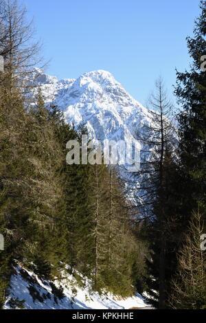 lienz dolomites,winter,rocks,mountains,cliff,snow,ice,snow - Stock Photo
