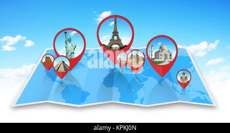 Monuments of the world on a map - Stock Photo