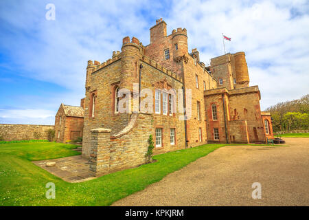 Castle of Mey or Barrogill castle near Thurso and John o' Groats on north coast of the Highland in Scotland, United - Stock Photo