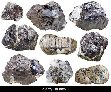 set of Sphalerite rocks and polished stones - Stock Photo