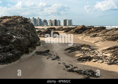 Punta del Este beach in winter - Stock Photo