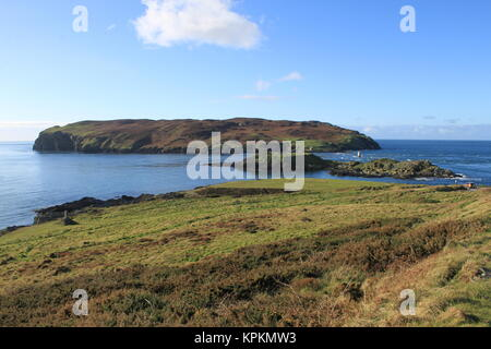 The Calf of Man, Kitterland and Chicken Rock seen from the Calf Sound, Isle of Man (2017). Unesco biosphere reserve. - Stock Photo