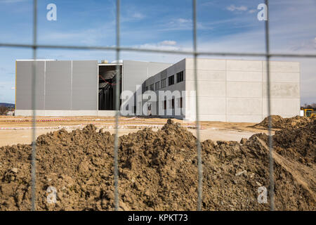 Construction site with a fence around it - Stock Photo
