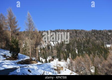 almhütte hochstein austria east tyrol winter - Stock Photo