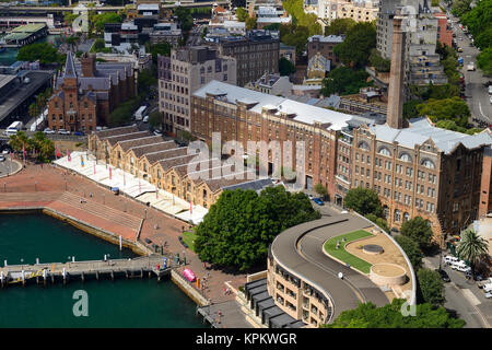 Elevated view of Campbell's Cove and The Rocks from Harbour Bridge Lookout - Sydney, New South Wales, Australia - Stock Photo