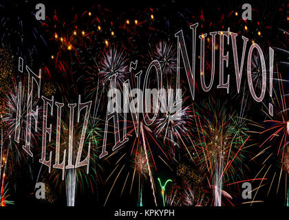 ¡Feliz Año Nuevo! Fireworks 2018  Happy New Year in Spanish. Concept available with year 2018 behind see KPKYPK - Stock Photo