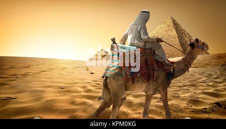 Bedouin on camel in desert - Stock Photo