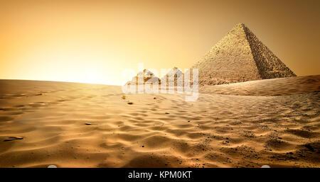 Pyramids in sand - Stock Photo
