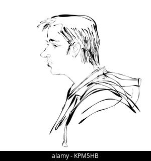 Abstract man portrait profile vector illustration - Stock Photo
