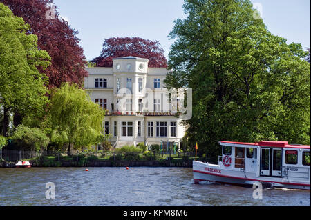 Hamburg, one of the most beautiful and most popular tourist destinations in the world. Villa on the Alster - Stock Photo