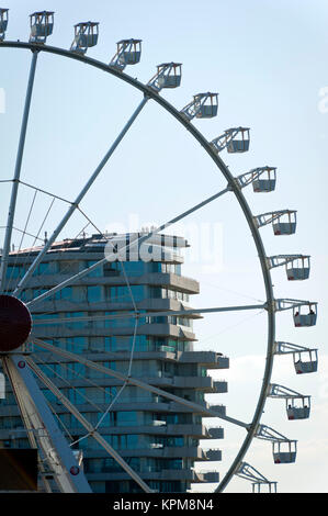 Hamburg, one of the most beautiful and most popular tourist destinations in the world. Ferris wheel in front of - Stock Photo