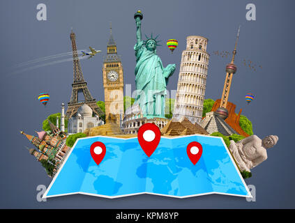 Monument of the world on a map - Stock Photo