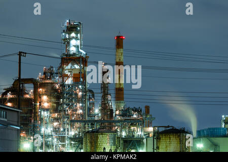 Industry building in kawasaki at night - Stock Photo
