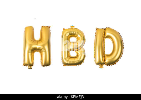 happy birthday English alphabet   from yellow (Golden) balloons on a white background .