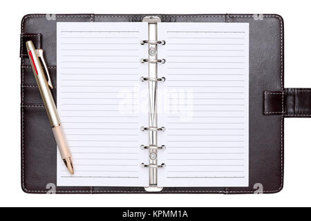 Brown leather office organizer and ballpoint pen - Stock Photo