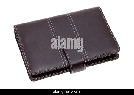 brown leather office organizer isolated on white background - Stock Photo