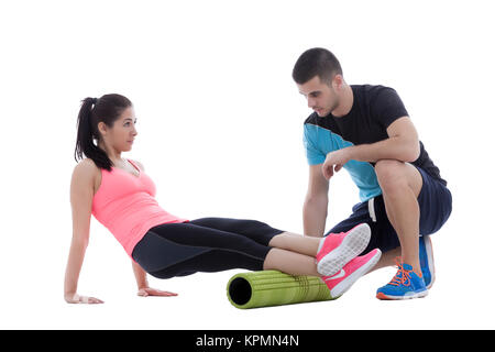 Foam Roller Exercises - Stock Photo