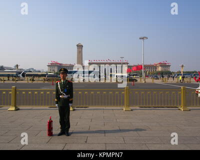 The Chinese Security Guard at Tian an men Square.Travel in Beijing City, China. 24th October, 2017 - Stock Photo