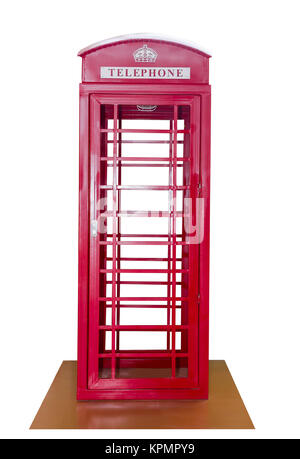 Classic British red phone booth - Stock Photo