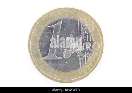 A singe one euro coin isolated on a white background - Stock Photo