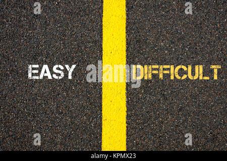 Antonym concept of EASY versus DIFFICULT - Stock Photo