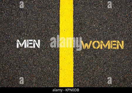 Antonym concept of MEN versus WOMEN - Stock Photo