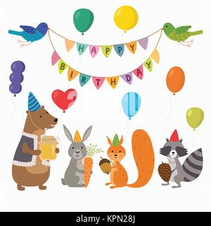 Cute cartoon forest animals illustration for birthday card template - Stock Photo