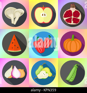 Vegetables, fruits, mushrooms icons set - Stock Photo