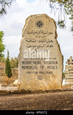 Mount nebo, Siyagha, memorial of Moses, Jordan - Stock Photo
