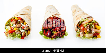 Close Up Still Life of Trio of Tex Mex Fajita Wraps Wrapped in Grilled Flour Tortillas and Filled with Variety of - Stock Photo