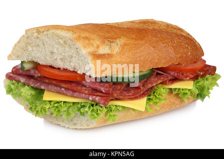 topped baguette for breakfast with salami ham cut - Stock Photo
