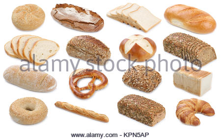 collection various types of bread loaves pastry buns cutout cutouts cut isolated - Stock Photo