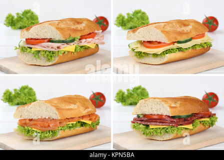 collage of sandwiches salami ham fish and cheese - Stock Photo