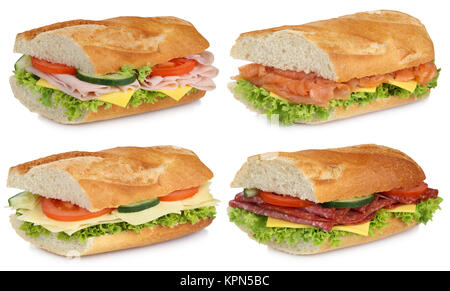 collage of sandwiches salami ham fish and cheese cut - Stock Photo