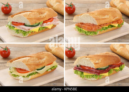 collage of baguettes for breakfast topped with salami ham fish and cheese - Stock Photo