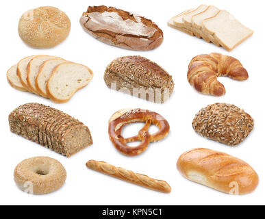 collection of bread loaves pastry buns cutout cutouts cut isolated - Stock Photo