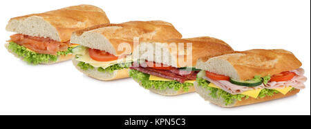 collage baguettes salami ham fish and cheese in a row cut - Stock Photo
