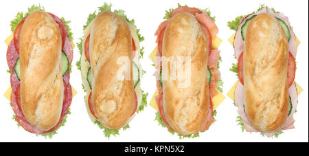 collage sandwiches baguettes with salami,ham and cheese supervision cut - Stock Photo