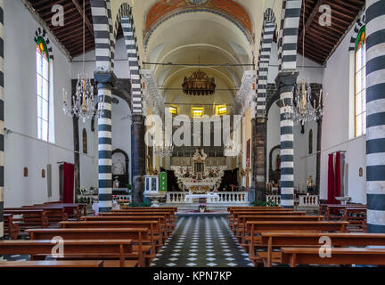 The St. John the Baptist church interior in Monterosso al Mare, Liguria, Italy, Europe. - Stock Photo