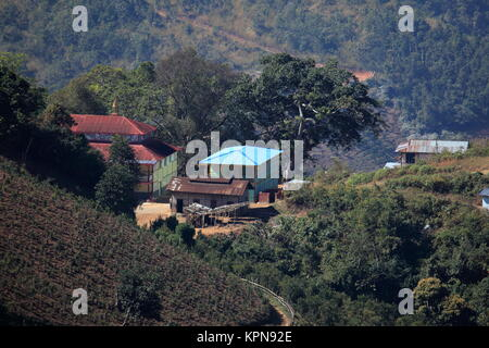 homes and villages in myanmar - Stock Photo