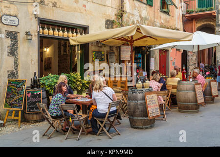 An outdoor restaurant in Monterosso al Mare, Liguria, Italy, Europe. - Stock Photo