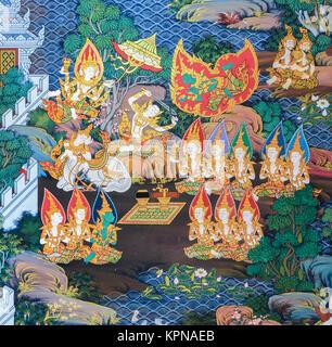 Thai mural painting art - Stock Photo